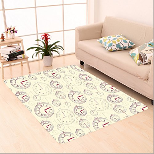 et k Decor Vintage Watches with Roman Digits Wallpaper Pattern Decorative Illustration Cream Maroon area rugs for Living Dining Room Bedroom Hallway Office Carpet (5' X 8') ()