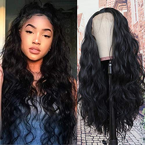 QD-Tizer Black Long Loose Curly Wave Glueless Lace Front Wigs Heat Resistant Natural Hairline Synthetic Lace Front Wigs for Fashion Women 26 inch (Heat Resistant Wigs Lace Front)