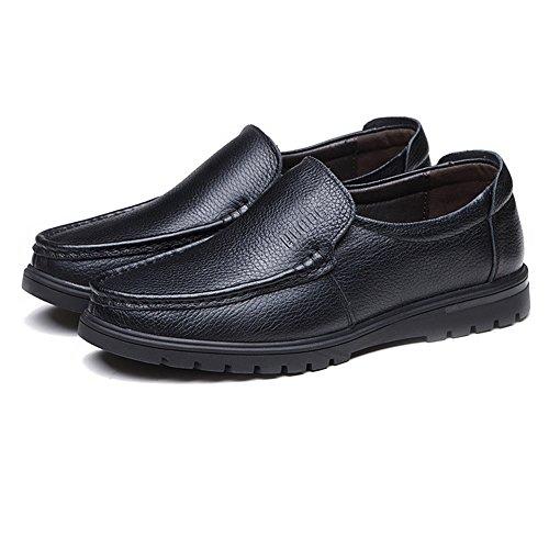 EU opzionale Scarpe uomo Dimensione per pelle Shoes Nero vera basse fodera pelle da vacchetta suola Scarpe in Color Nero 41 di uomo piatta e BMD perforazione di con FIAxH