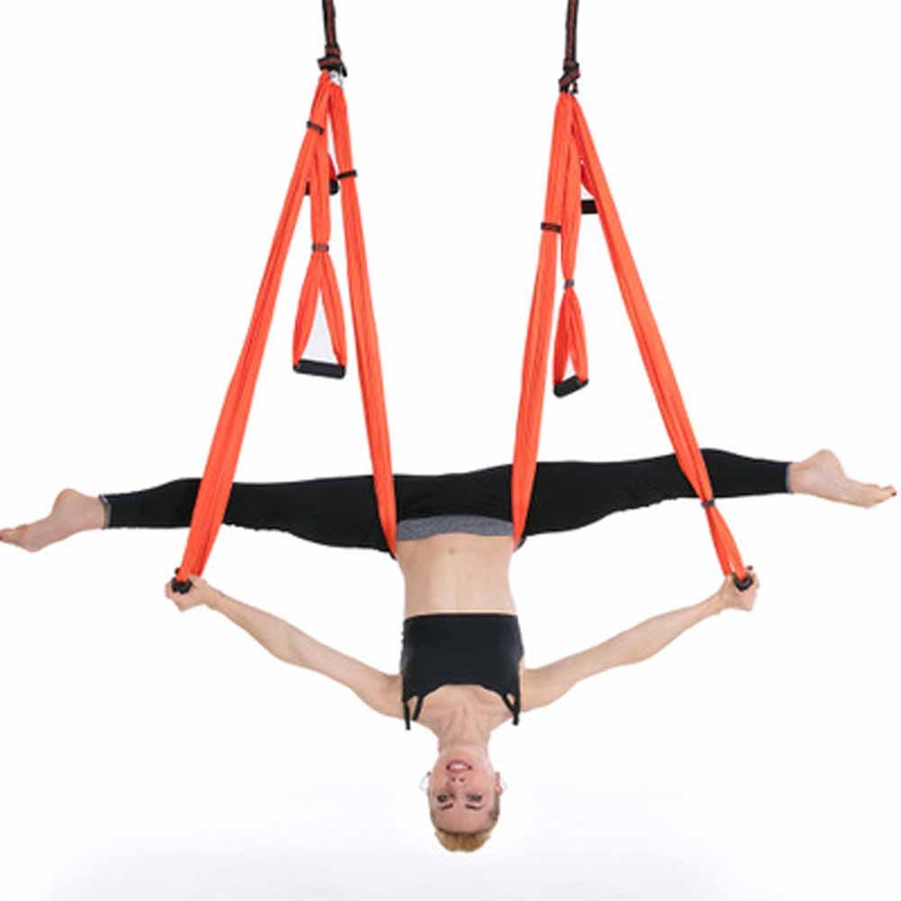 Orange YNXing Yoga Hamac Yoga d'antenne, balançoire, Flying Ensemble hamac de Yoga Sling pour Antigravity Yoga Inversion Exercices