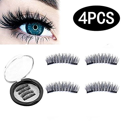 fc1dae4f99b (4 Pieces) Magnet Eyelashes-Dual Magnetic False Eyelashes with NO GLUE 3D  Fiber Reusable Best Fake Lashes Extension for Natural Look,Perfect for Deep  Set ...
