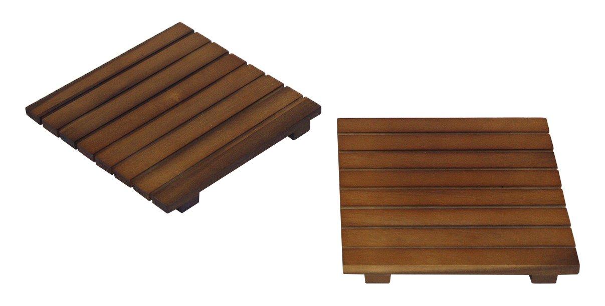 Mountain Woods ATV2 Square Acacia Hardwood Trivet/Cooling Rack, 2 Piece, 7 X 7 X 1.5, BROWN