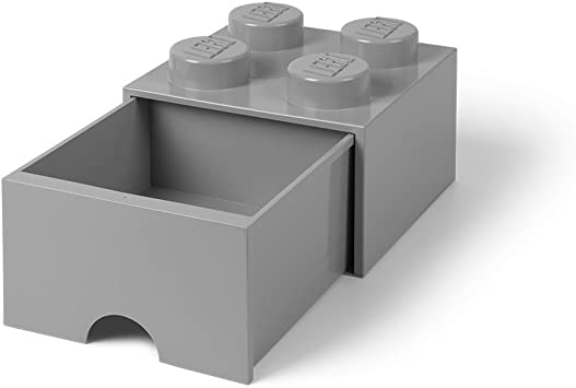 LEGO Storage Brick Stein mit Schublade stapelbar Drawer 4 Grau Grey