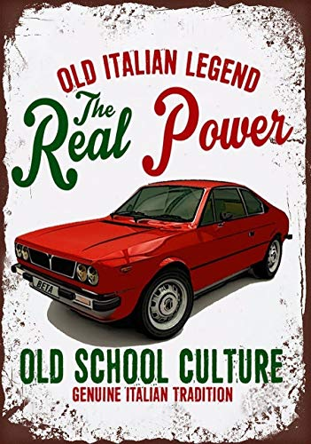 Lancia Beta Coupe - ADILH Vintage Italian Car Lancia Beta Coupe Tin Sign Bar Pub Home Wall Decor Metal Art Poster Retro Tavern Cafe Club Plaque