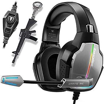 Cascos PS4 con Micrófono para Xbox One PC Nintendo PS4 Tableta Laptop, Auriculares con Pro Stereo, Iluminación RGB: Amazon.es: Electrónica