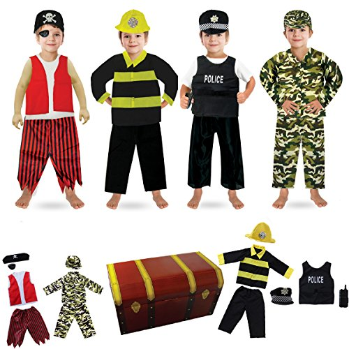 fedio 14PCS Boys Role Play Dress up Trunk Costume Set for Children (Pirate, Policeman, Fireman, (Dress Up Clothes For Boys)