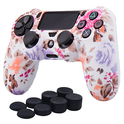 YoRHa Water Transfer Printing Camouflage Silicone Cover Skin Case for Sony PS4/slim/Pro Dualshock 4 controller x 1(flowers) With Pro thumb grips x 8