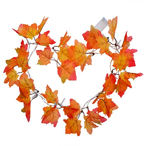 Wobe 16.4ft Thanksgiving Decorations Lighted Fall Garland, 2pcs Autumn Garland String Lights Thanksgiving Decor Halloween String Lights Maple Leaf Shape Home Party Each 8.2 Feet 20 LED