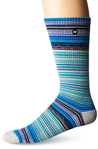 New Balance Lifestyle Striped Crew Socks, Black/Blue, Men's 9-12.5/Women's - Bk 4 Cashmere