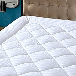 HYPNOS Mattress Pad Cover Queen Size Pillowtop 300TC Down Alternative Mattress Topper with 8-21-Inch Deep Pocket,Queen