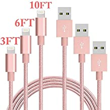 Lightning Cable, SUMOON 3 Pack Nylon Braided Extra Long 3ft 6ft 10ft USB Charging Cord Charger for Apple iPhone SE/7/7 plus/6 plus/6s plus/6/6s/5/5S/5C, iPad 4,iPad Air 1/2,iPad Mini,iPod (Rose Gold)