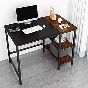 JOISCOPE Bureau d'ordinateur, Table d'ordinateur Portable, Table d'étude avec étagères en Bois, Table Industrielle en…