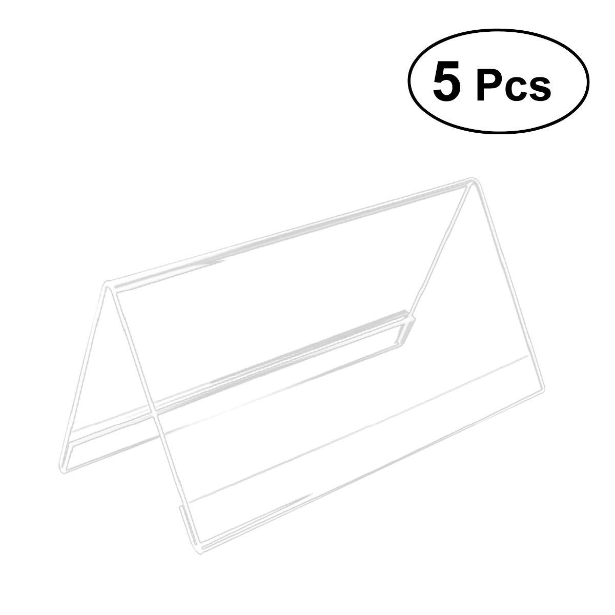 toymytoy 5個アクリルビジネスカードホルダーV型透明テーブルメニュー表示サインホルダー三角形会議カードホルダー   B07G5HC35N