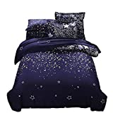 YOUSA Galaxy Stars Bedding Sets Sky Stars Pattern Printed on Dark Navy Blue, No Comforter (Twin,05)