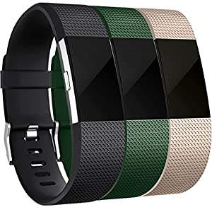 Maledan Bands for Fitbit Charge 2, Black Green Champagne, Large