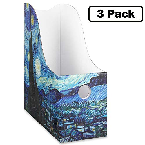 Sturdy Cardboard Magazine Holders, Folder Holders (3 Pack, Starry Night), Stunning Impressions Design, Magazine Organizer, Folder Organizer, Office and School Supplies by Dunwell
