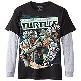 Teenage Mutant Ninja Turtles Big Boys' Long Sleeve T-Shirt Shirt Twofer , Black/Heather, X-Large/ 18