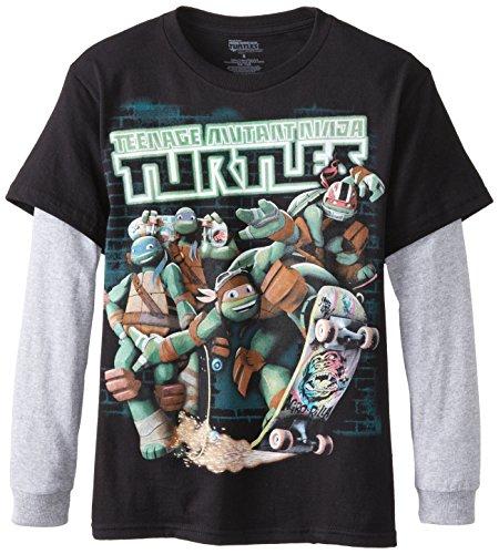 Teenage Mutant Ninja Turtles Big Boys' TMNT Group Skate Long Sleeve Two-Fer Tee, Black/Heather, Medium