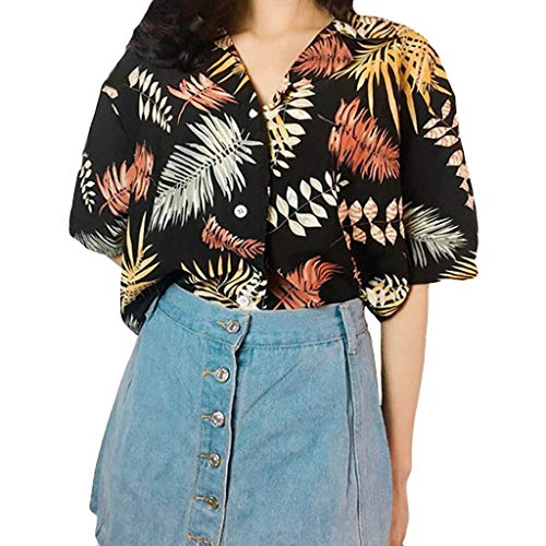 Hawaiian Shirts for Women,ONLY TOP Women Hibiscus Flower Aloha Beach Top Button Down Blouse Casual Swim Ladies Black ()