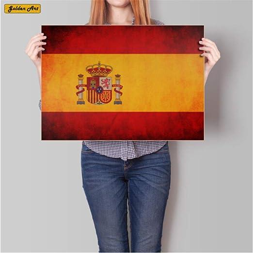 hzcl Cartel De Papel, Vintage Bandera Nacional España Kraft Papel Cartel Retro Bar Cafe Pared Pegatina Decoración Impresión Pintura 45.5x31.5cm: Amazon.es: Hogar