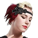 BABEYOND 1920s Flapper Headpiece Roaring 20s Great Gatsby Headband Vintage Feather Headband 1920s Flapper Gatsby Hair Accessories (Red-style2)
