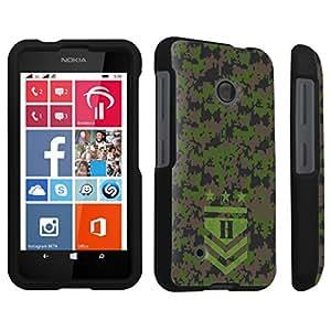 linJUN FENGDuroCase ? Nokia Lumia 530 Hard Case Black - (Army Camo Monogram H)