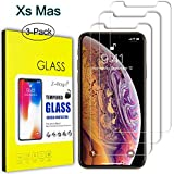 "iPhone Xs Max Screen Protector Glass, Z-Roya Tempered Glass Screen Protector for Apple iPhone Xs Max 6.5"" [3D Touch Compatible] 0.3mm Screen Protection Case Fit 99% Touch Accurate -3 Pack"