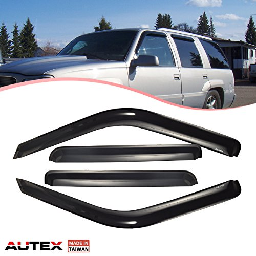 AUTEX Tape On Window Visor Deflector Fits for 1999 2000 Cadillac Escalade GMC Chevy C/K Pickup 1992 1993 1994 1995 1996 1997 1998 1999 GMC Chevy C/K Suburban Tahoe Rain Guard (only for Crew Cab)