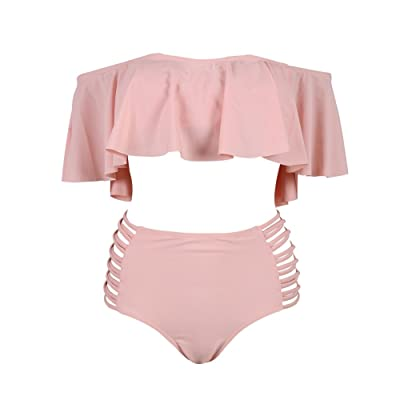 194fe4f3f63b Womens Retro High Waisted 2PCS Bikini Sets Halter Neck Off Shoulder Flounce  Swimsuits Two Piece Bathing Suits