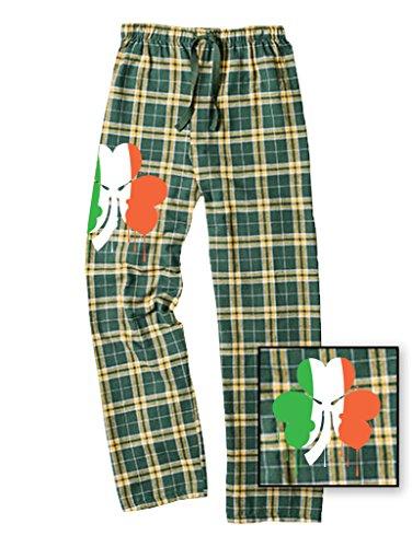 LOGOPOP Unisex Plaid Pants Ireland Flag Clover Unisex Flannel Pants, L, Green/Gold ()