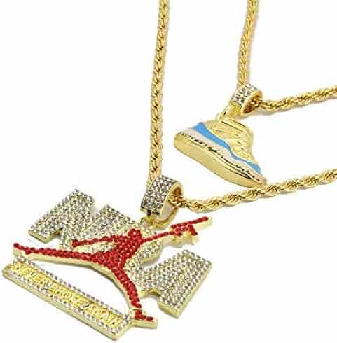 24 Rope Chains Gold Pl Retro 11Retro Red /&Never broke again Pendant 4mm 20