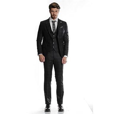 best website 384c9 160aa MCR Moda Crise Herren Anzug Schwarz Grau Kariert Slim Fit ...