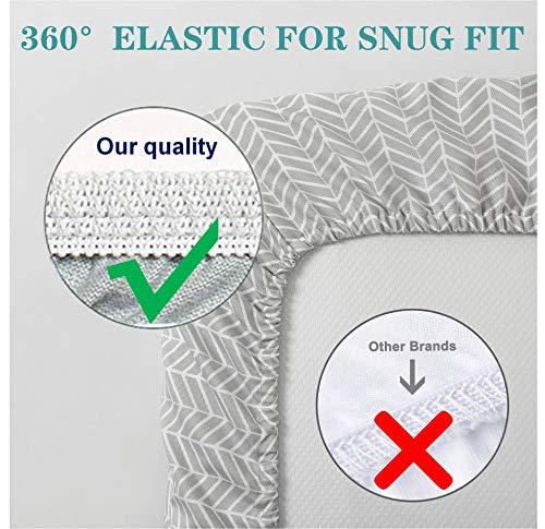 """Changing Table Pad Cover - Contoured Changing Pad Cover for Boys & Girls - Ultra Soft & Stretchy Washable Plush Fleece - 16x32"""" Size Universal Fit - Grey Chevron, Gender Neutral for Boys and Girls"""