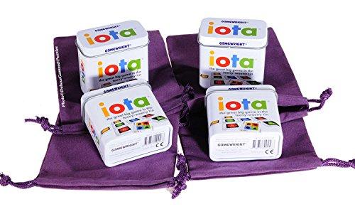IOTA Card Game (Tiny) in Tin _ Bundle of 4 Identical Games _ Bonus 4 Purple Velveteen Drawstring (Iota Game)