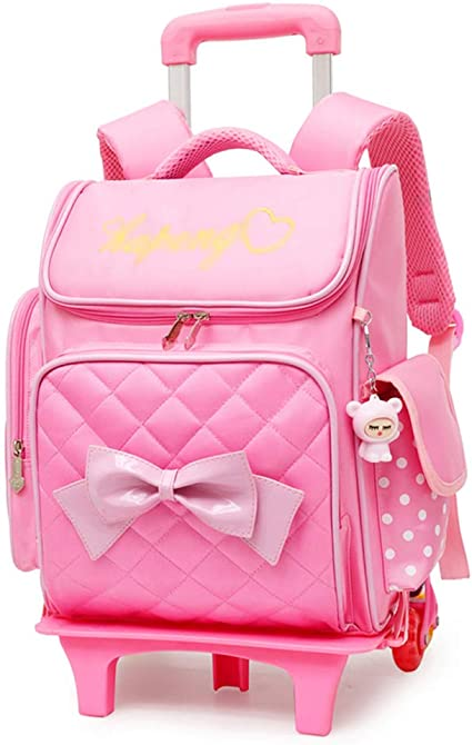 XHHWZB Rolling Backpack para niñas con Estuche de lápices y loncheras Mochilas Escolares Trolley Mochilas con Ruedas (Color : Pink): Amazon.es: Deportes y aire libre
