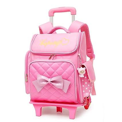 XHHWZB Rolling Backpack para niñas con Estuche de lápices y loncheras Mochilas Escolares Trolley Mochilas con