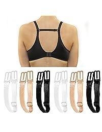 6 Pieces No-slip Bra Strap Clips Adjustable Anti-slip Elastic Strap Holder, Black+Beige+White