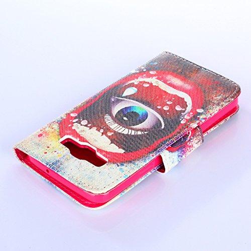 Qimmortal - Funda tipo cartera para Samsung Galaxy S7, piel sintética, diseño colorido, función atril plegable magnética, con tarjetero, incluye protector de pantalla de cristal templado, piel sintéti Eye and mouth