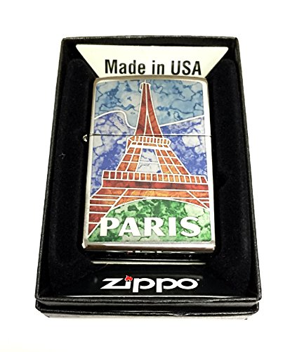 Zippo Custom Lighter - Paris France Eiffel Tower Fuzion Mosaic - Regular High Polished (Polished Chrome Lighter)