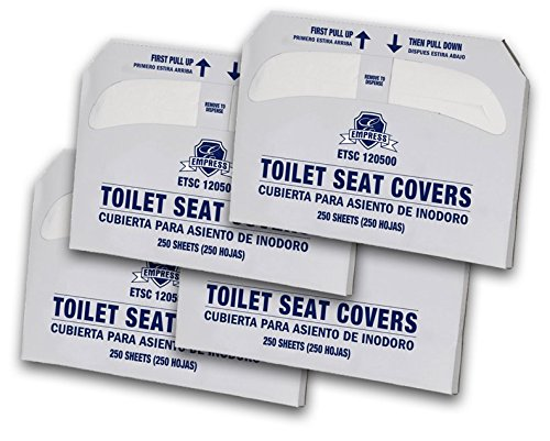 Disposable Paper Toilet Seat Cover Half Fold Personal Hygiene by Empress (4 Packs of 250) 1000 Total for Dispensers - White