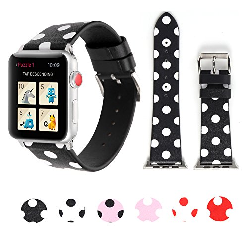 Sport Band for Apple Watch 38mm 42mm 40mm 44mm, iWatch Strap Replacement with Polka Dot Floral Print Leather Bracelet Wristband for Apple Watch Series 4, Series 3,2,1 (Black White Polka Dot, 44mm)
