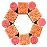 Hraindrop 12PCS Wooden Stamps, Floral Pattern Rubber Stamp for for DIY Craft Card and Scrapbooking Designs