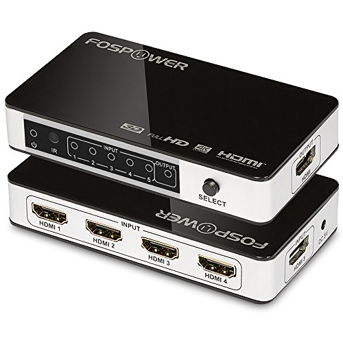 5 x 1 HDMI Switch [Ultra HD 4K x 2K], FosPower 5 Ports HDMI Switcher - 3D 1080p - Includes IR Remote Control & Power Adapter