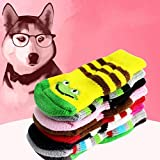 Flameer 4 Pairs Cute Cute Animal Style Grippers Non Slip Dog Socks for Indoor/Outdoor Wear - L
