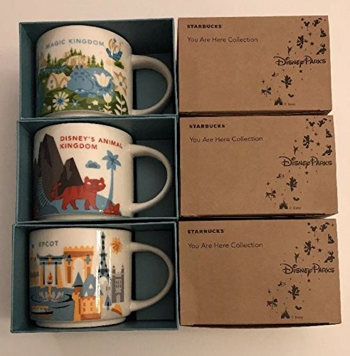 3 Mug Set: 2017 Magic Kingdom +Animal Kingdom+ Epcot 14 Oz. You Are Here Starbucks Mugs by Starbucks