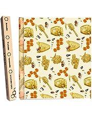 LAMTWEK - Rollo de papel de cera de abejas reutilizables de algodón para alimentos de 13 x 39 pulgadas, envolturas de cera de abeja, para sándwich, queso, fruta, aperitivos de pan, tapas para cuencos