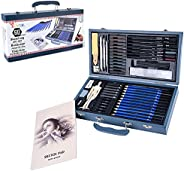 ToneGrip Conjunto de lápis de desenho com 60 peças, caixa de madeira profissional, grafite e haste de carvão,