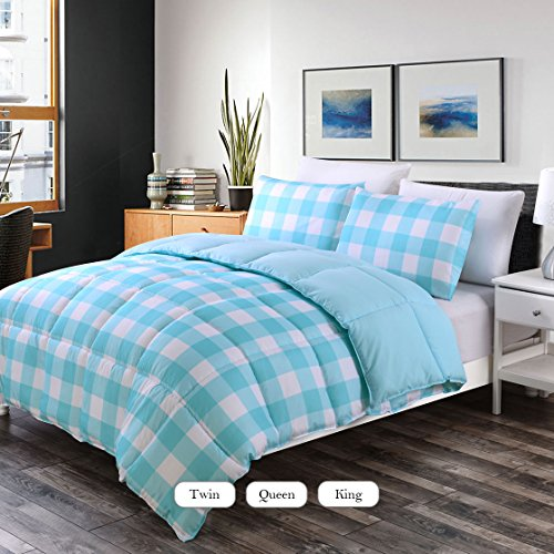 Box Blue Gingham - Luxe Bedding 3-PCS Reversible Down Alternative Quilted Duvet / Gingham Comforter Set - All Season Hotel Quality (Full/Queen, Baby Blue)