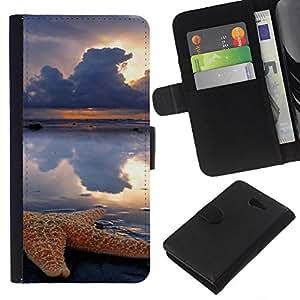 KLONGSHOP // Tirón de la caja Cartera de cuero con ranuras para tarjetas - Nubes dom Lluvia Mar Naturaleza - Sony Xperia M2 //