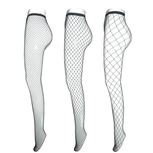 Fishnet Stockings for Women Teen Girls, EASILK Sexy Seamless Net Pantyhose Tights,Black,3 Pack (Teen Sexy Girls)